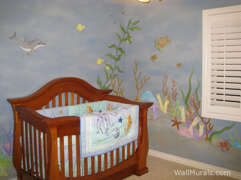 ocean theme baby room mural with dolphin and sea turtle baby room