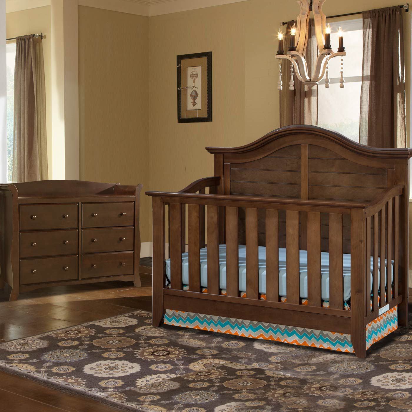 Thomasville 2 Piece Nursery Set Southern Dunes Lifestyle Crib And Avalon 6 Drawer Dresser In Dove Brown