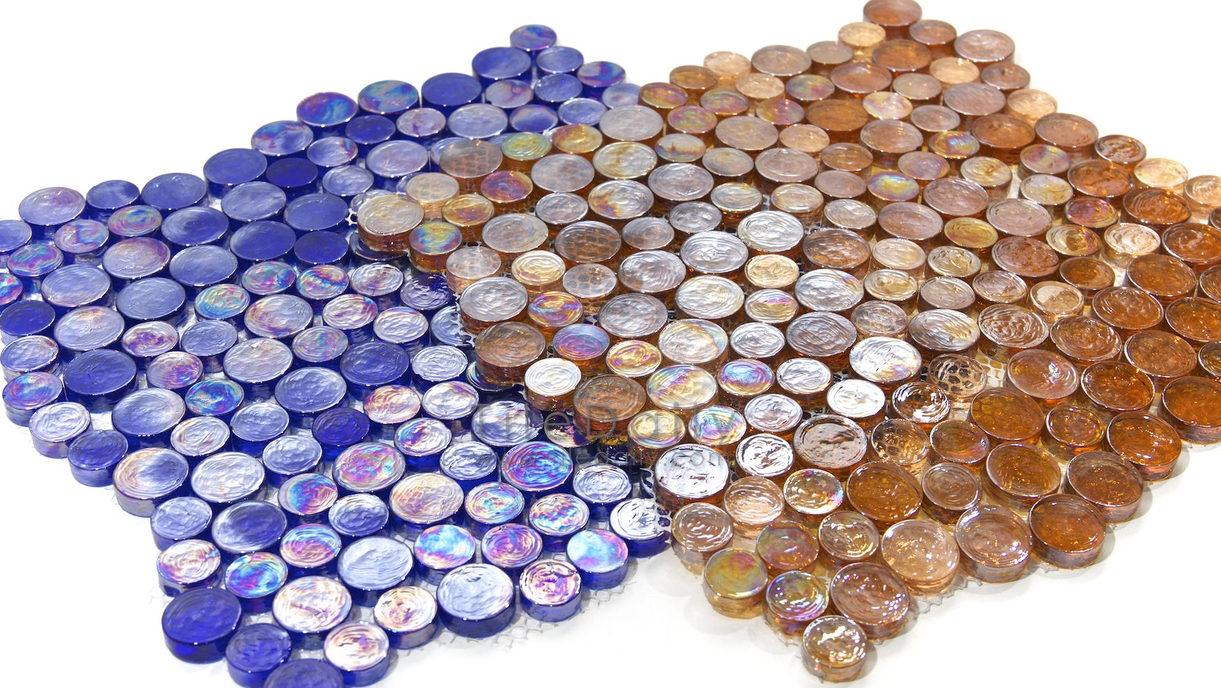 Random Iridescent Penny Round Mosaic, 3 Colors ON SALE | tiledaily ...