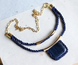 Dark Blue Rope Necklace with Stone square on golden