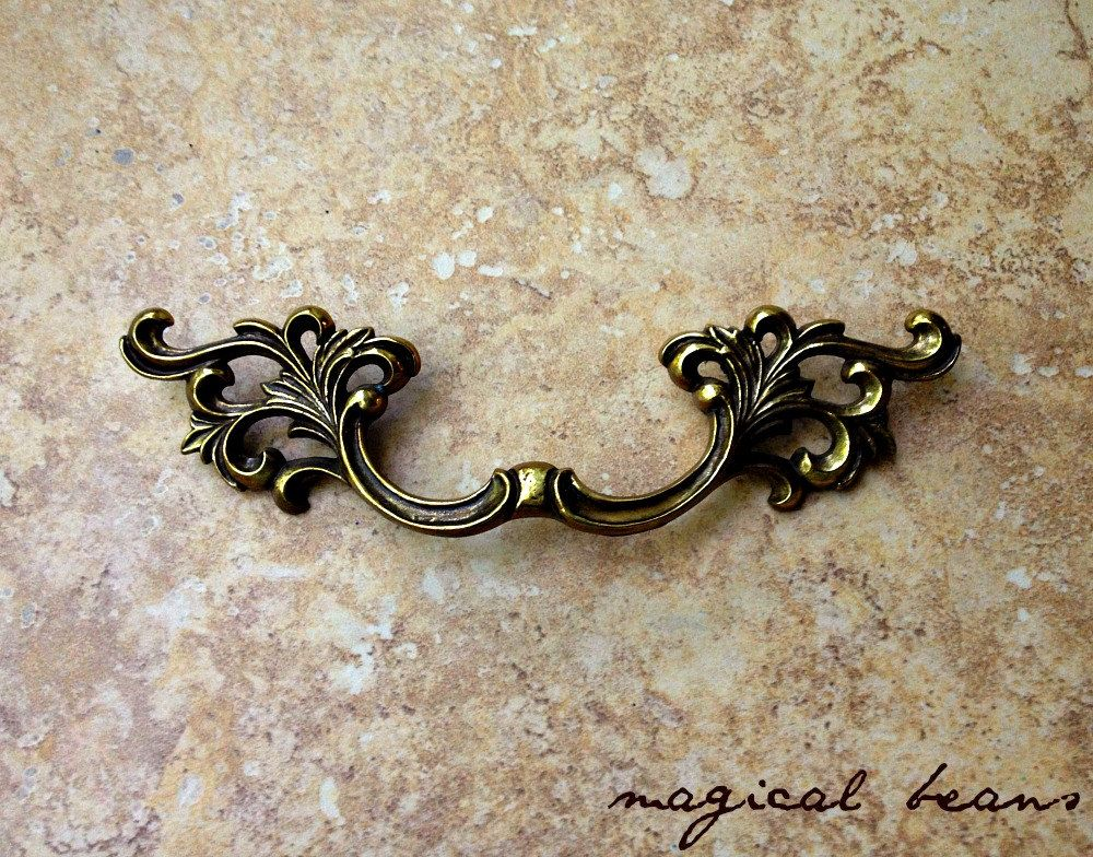 Antiqued Brass French Provincial Pull Vintage Authentic Restoration Hardware Victorian Style Drawer Pulls Co Drawer Pulls Vintage Drawer Pulls Vintage Brass