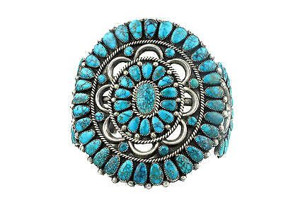 Circa-1950s-Zuni-Silver-with-Lone-Mountain-Turquoise-Cluster