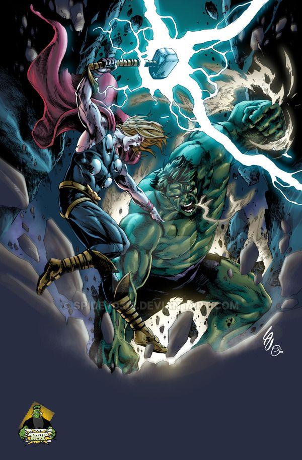 #Hulk #Fan #Art. (Hulk VS Thor colors) By: Spidey0318. (THE * 5 * STÅR * ÅWARD * OF: * AW YEAH, IT'S MAJOR ÅWESOMENESS!!!™).......