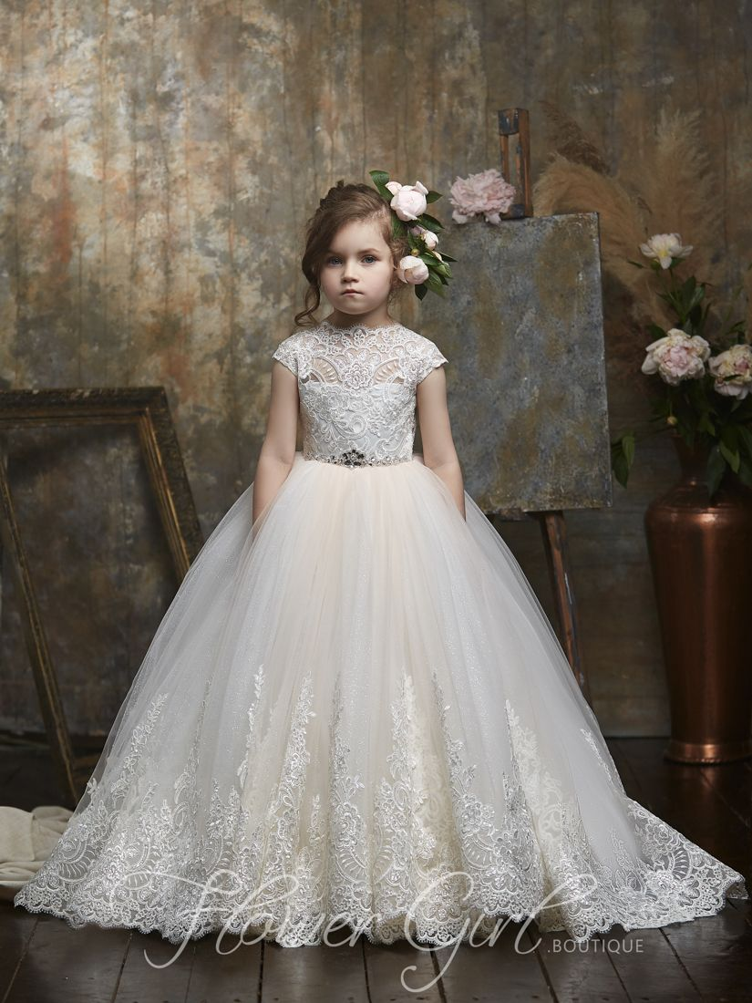 2018 Lace Tulle Flower Girl Dress Wedding Easter Junior Bridesmaid Baptism Baby