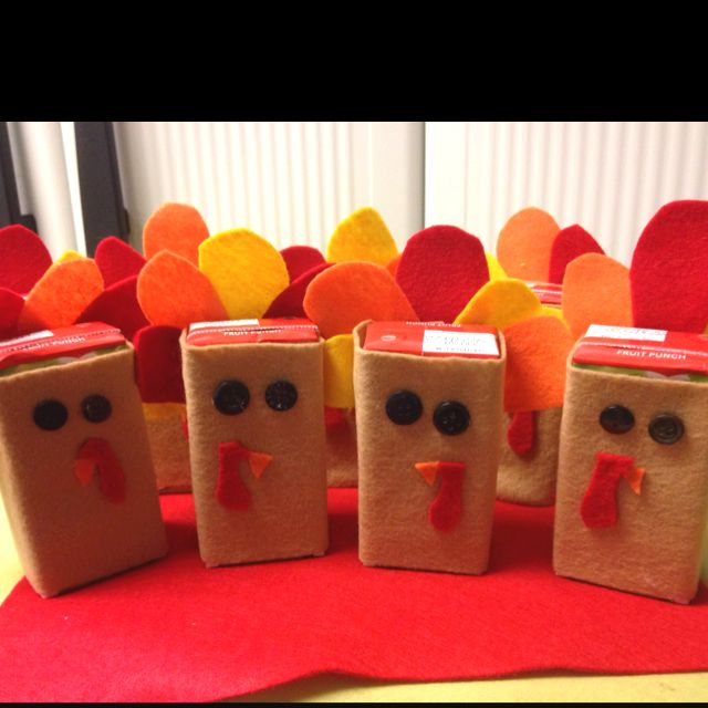 Our Fun Turkey Juice Boxes For Our Class Thanksgiving