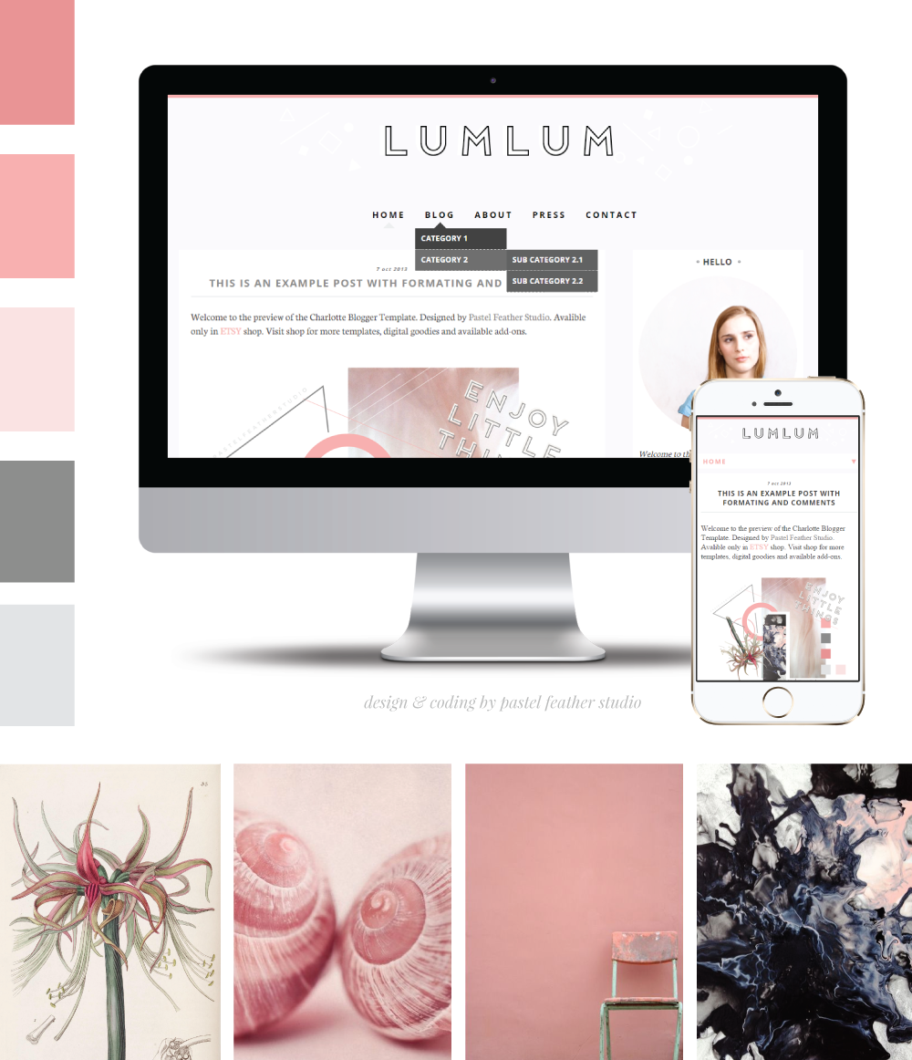 LUMLUM blogger template | P△STEL FEATHER STUDIO | BRANDING ...