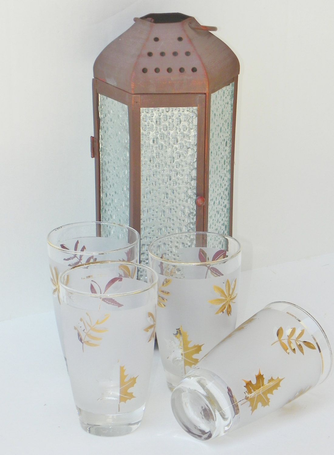 Libbey Gold Leaf 12 ounce Tumblers 12 Ounce Set Of (4) Circa 1960's by BonAppetitAntique on Etsy
