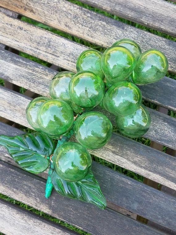 Vintage Glass Grapes Vintage Green Glass Variety Of Fruits Grapes