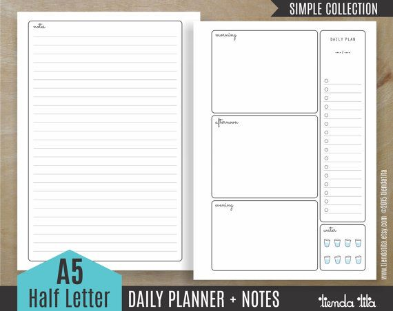 Daily Planner A Inserts  Notes  Simple Collection  AHalf