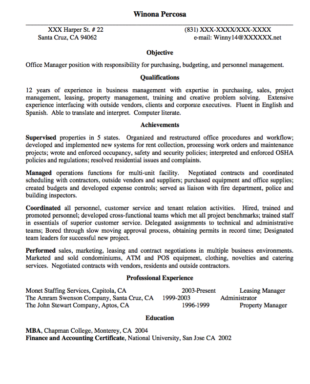 Office Manager Resume Objective Office Manager Resume Sample  Httpexampleresumecvoffice