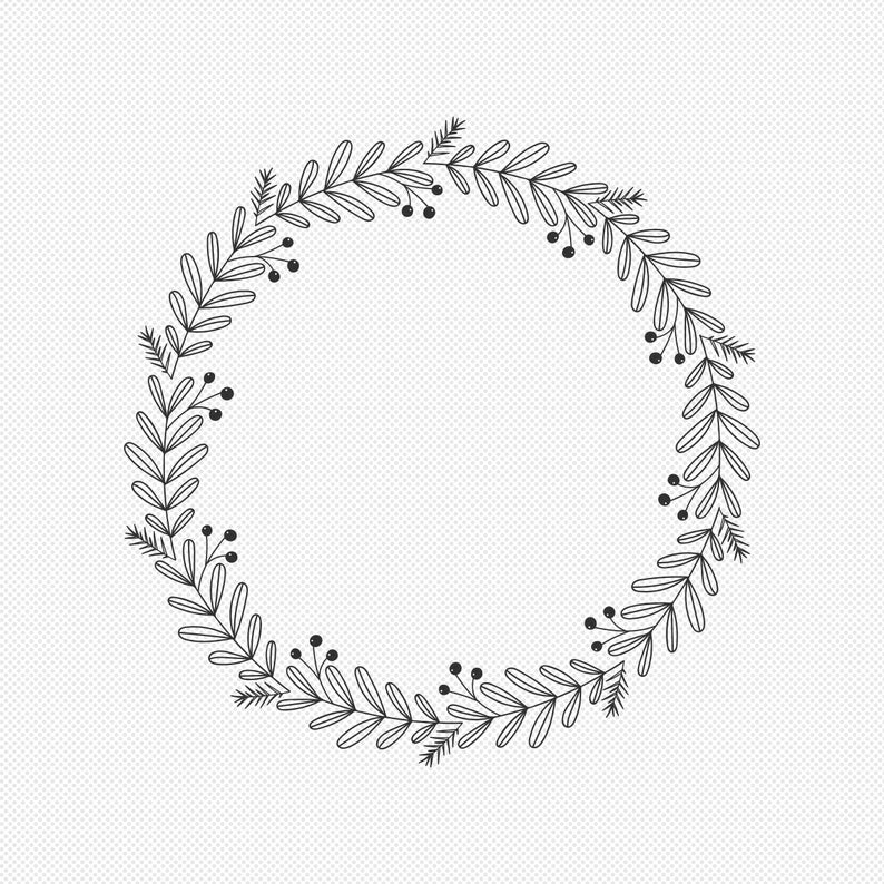 30++ Floral wreath clipart black and white information