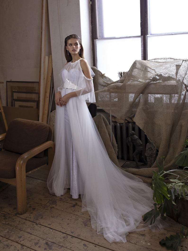 Wedding Dress Tunas With Underdress And Long Train A Line Etsy In 2020 Wedding Dresses Wedding Dress Accessories A Line Wedding Dress
