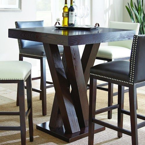 Steve Silver Tiffany Dark Espresso Cherry Bar Table With Angled Simple Steve Silver Dining Room Set Design Decoration