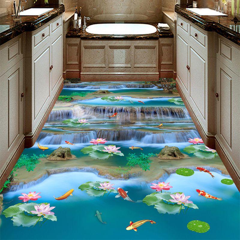 Photo Wallpaper 3d Stereo Waterfalls Rivers Landscape Floor Tiles Murals Sticker Living Room Bathroom Pvc Waterpro Kids Room Wallpaper Tile Murals Floor Murals
