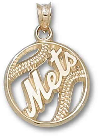 New York Mets Pierced Mets Baseball Pendant 14kt Gold Jewelry