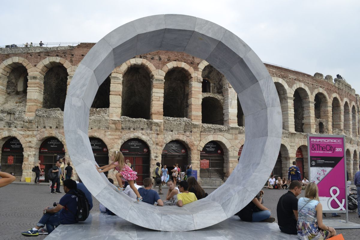 Stone Gate by Lithos Design in front of the Arena, Verona