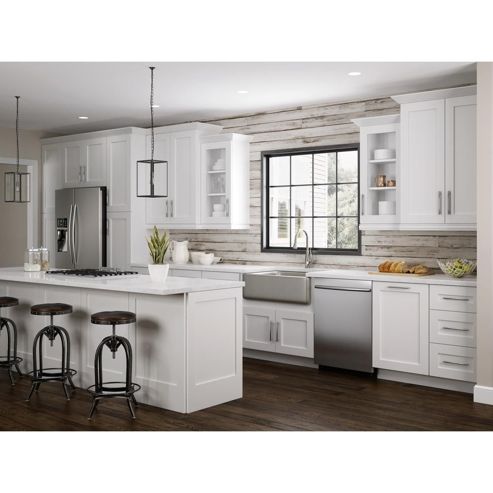Home Decorators Collection Newport Assembled 24 X 42 X 12 In Plywood Shaker Wall Kitchen Cabinet Soft Close In Painted Pacific White W2442 Npw The Home Depot In 2020 Home Depot Kitchen