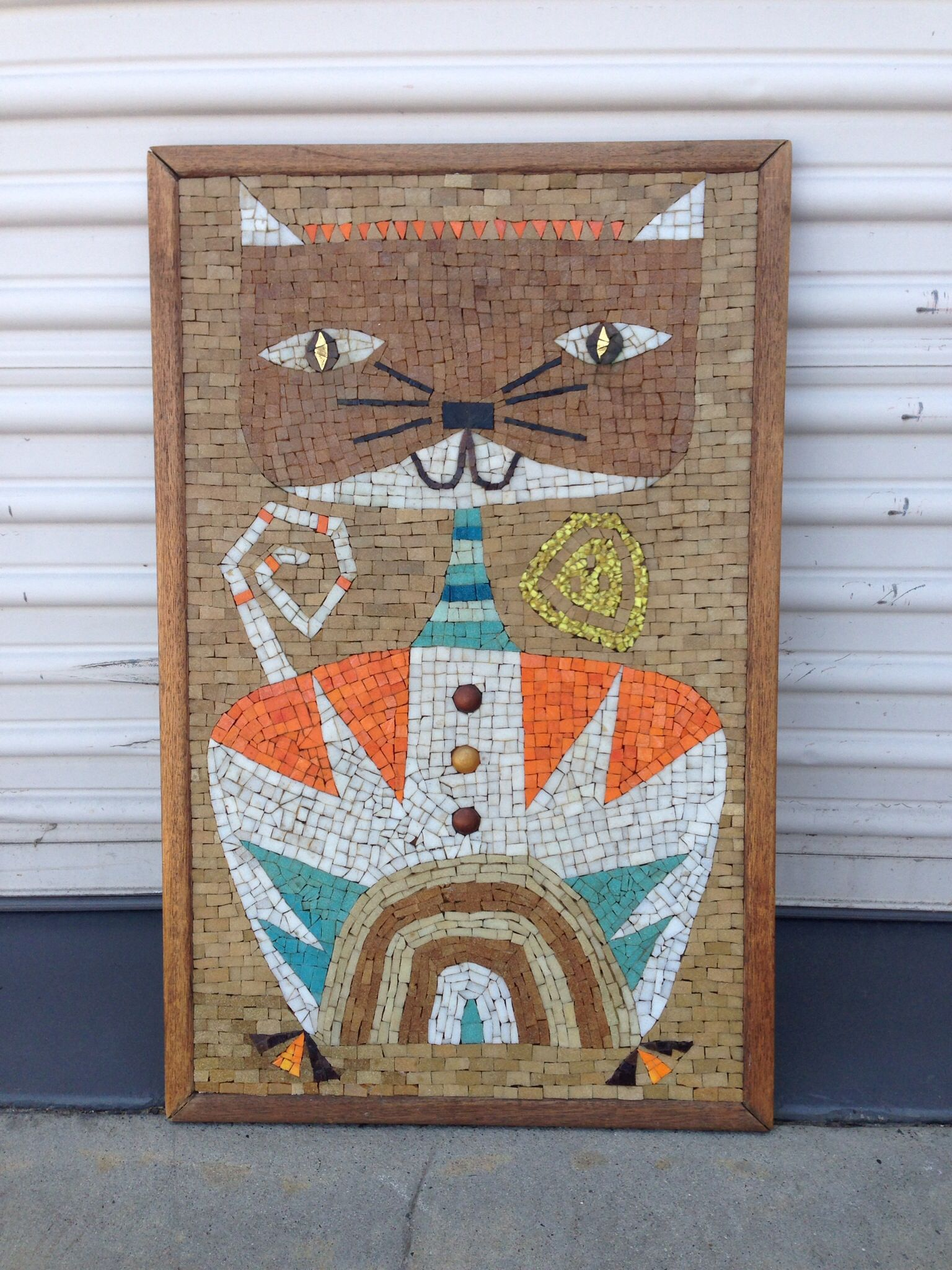 Mid century mosaic cat wall art | Modern Flamingo ...