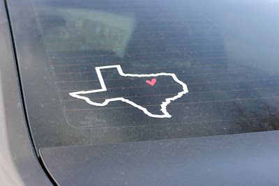 Vinyl, car decal, Texas outline with heart @VinylExpressions