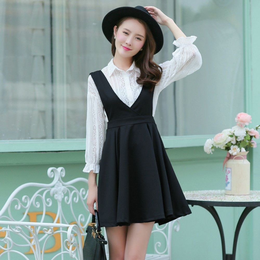 4b4685369356 New Sweet Korean Woman Fashion Autumn Flounce Sleeve Two Pieces Jumper Dress  Set