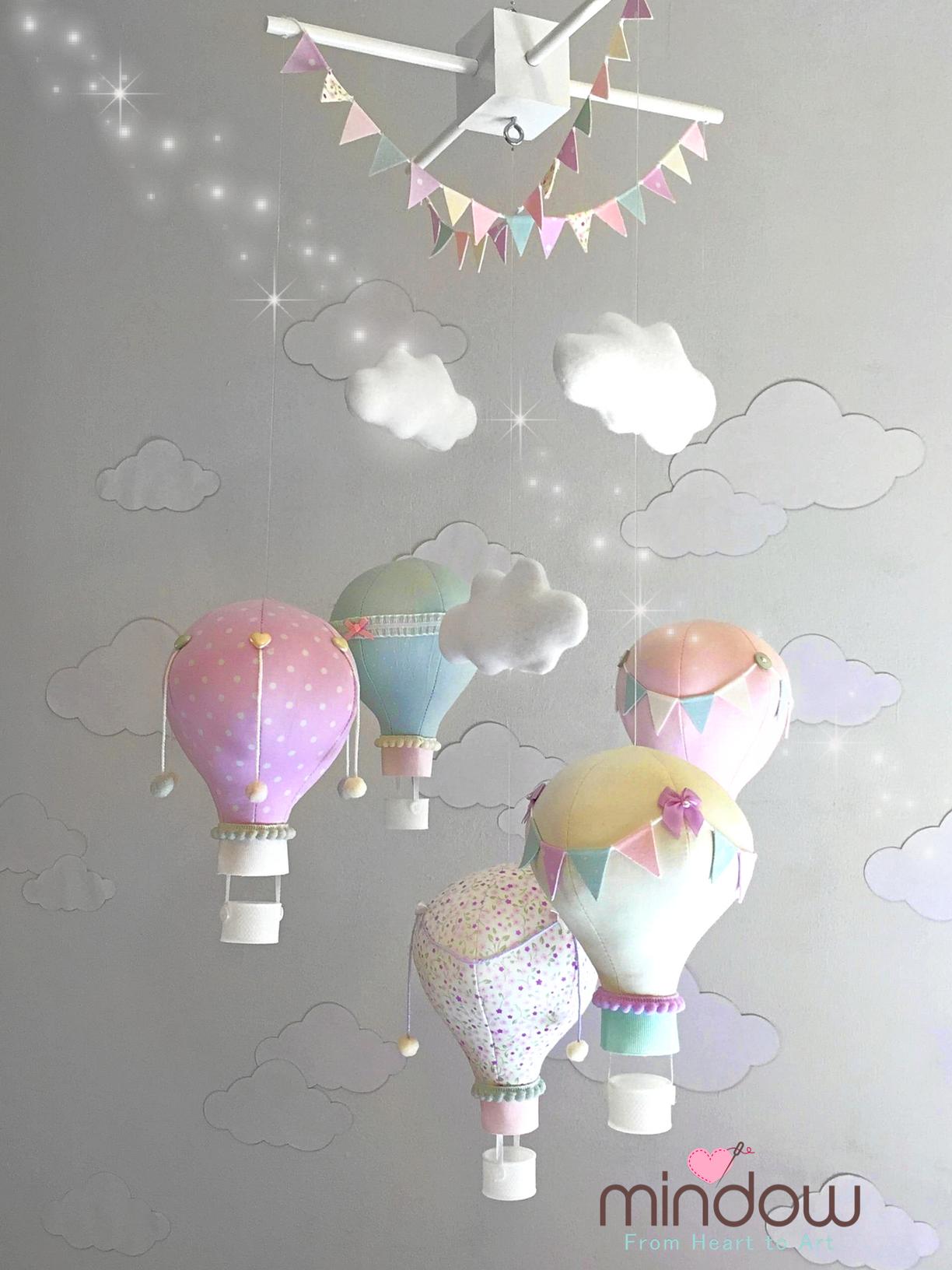 Hot air balloon mobile pastel colors מובייל כדורים