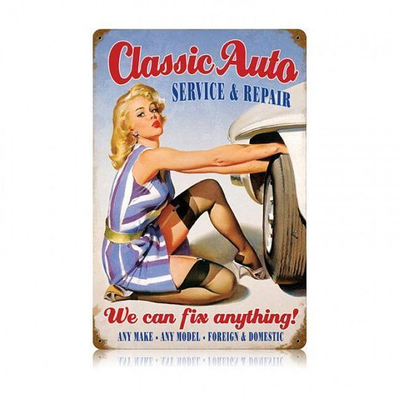 Classic Auto Service Repair, Pin-up Girl metal advertising sign, vintage style g...