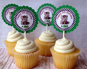 15 Personalized Chuck E Cheese Cupcake Topper Birthday Party