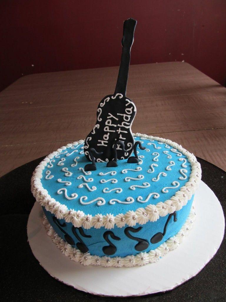 Blue guitar birthday cake pics musical theme Pinterest
