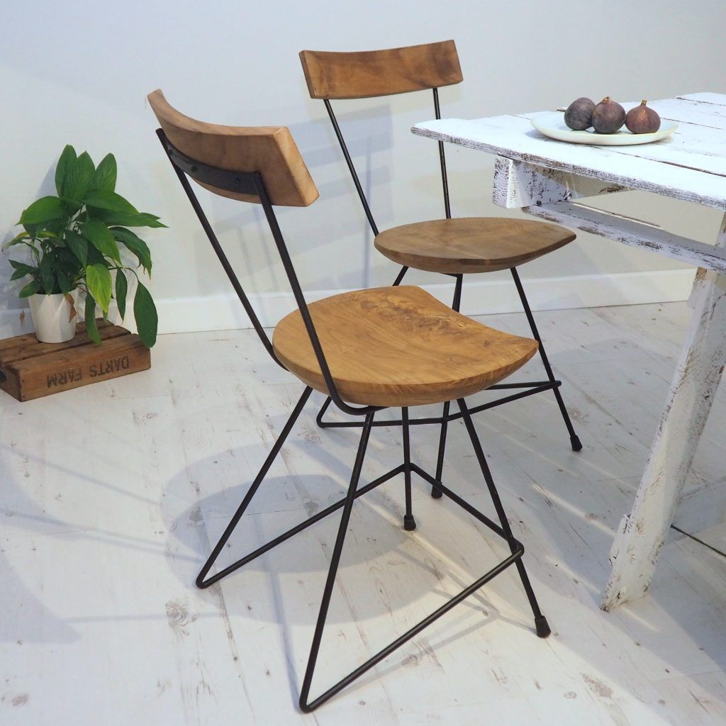 Industrial Wood Kitchen Chair Metal Dining Chairs Metal