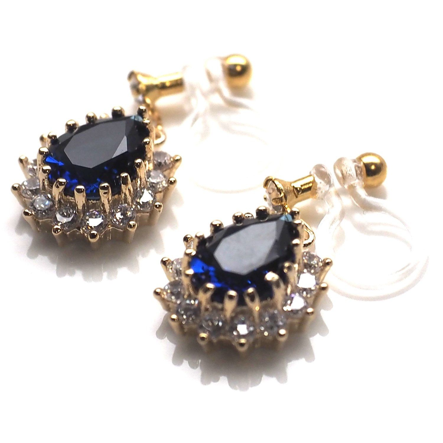 Sapphire Earring like! Navy blue cubic zirconia invisible clip on earrings.   These deep blue cubic zirconia is dainty. Ideal for elegant occasions. You are the right person who wears these earrings for your special days!