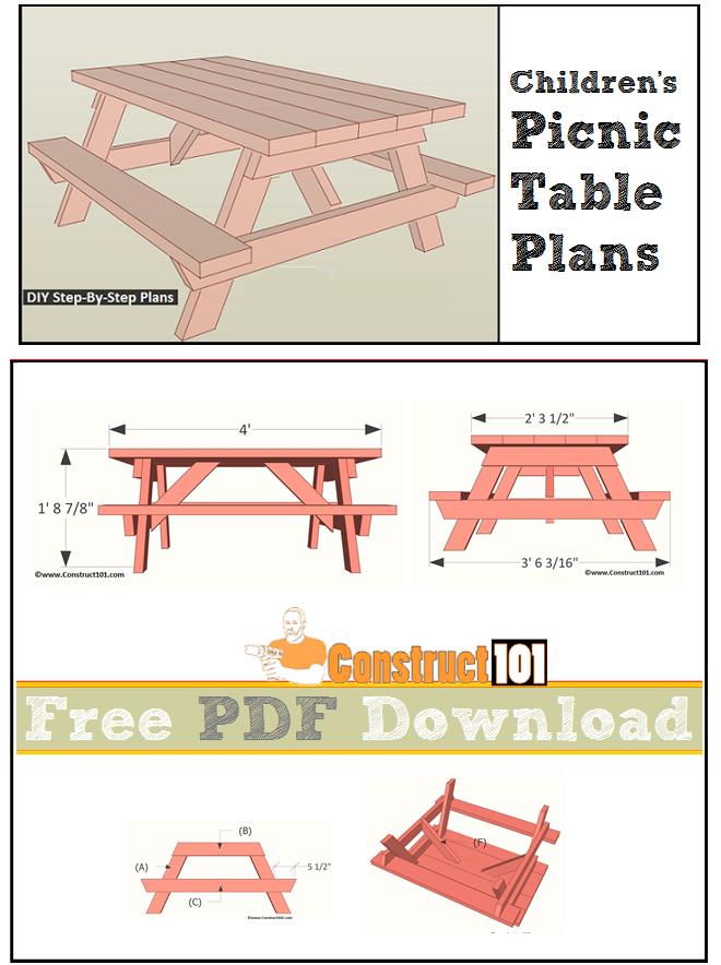 Children S Picnic Table Plans Pdf Download Construct101 Kids Picnic Table Picnic Table Picnic Table Plans