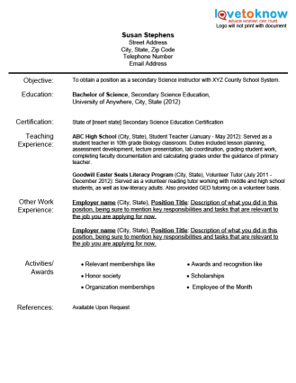 Student Teacher Resume Teaching Resumes For New Teachers  Download An Example Resume For
