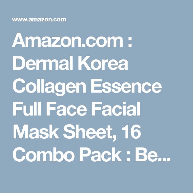 Amazon.com : Dermal Korea Collagen Essence Full Face Facial Mask Sheet, 16 Combo Pack : Beauty