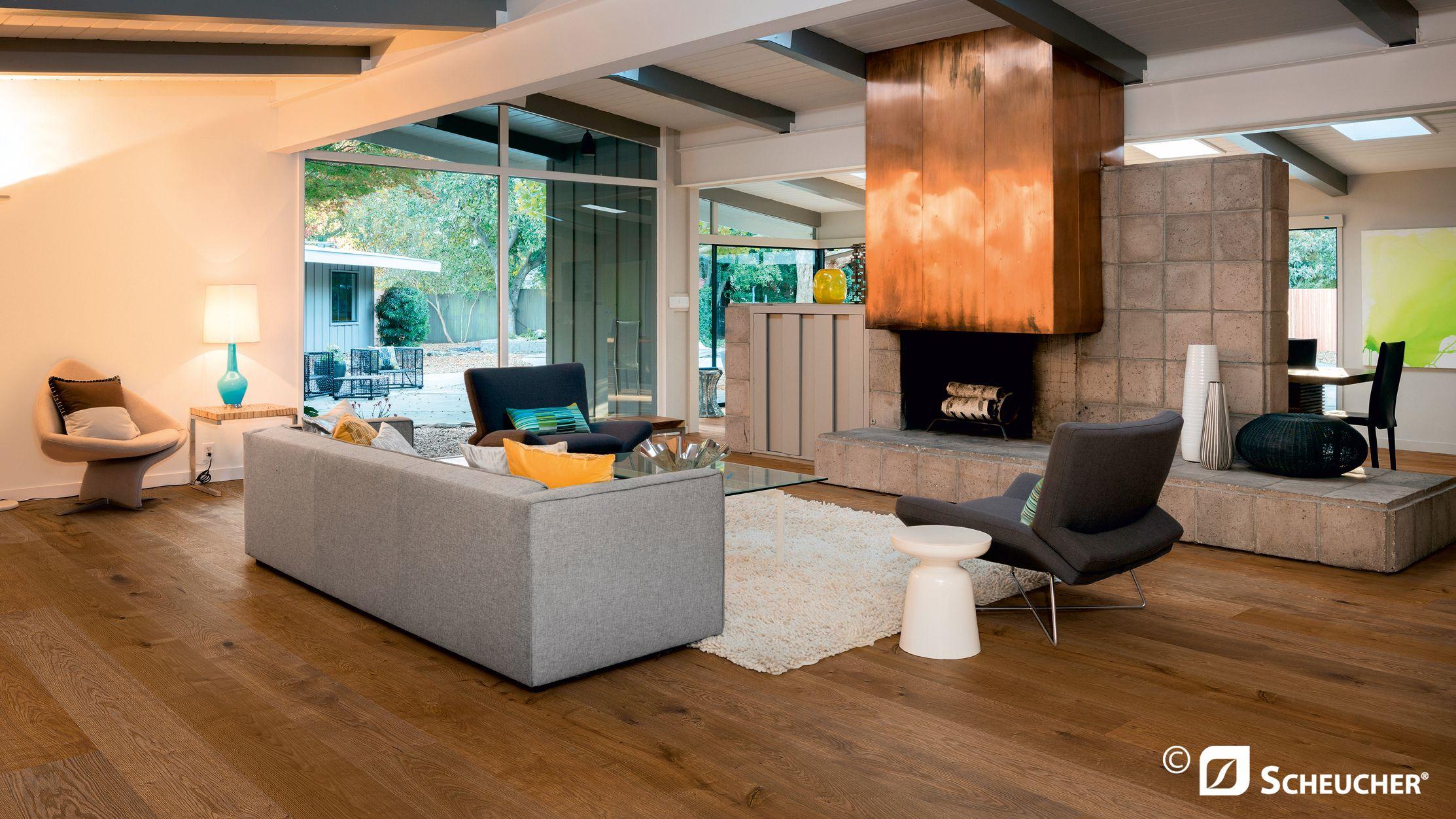 wohnzimmer living room mit scheucher parkett landhausdiele eiche gedampft coupal oak steamed