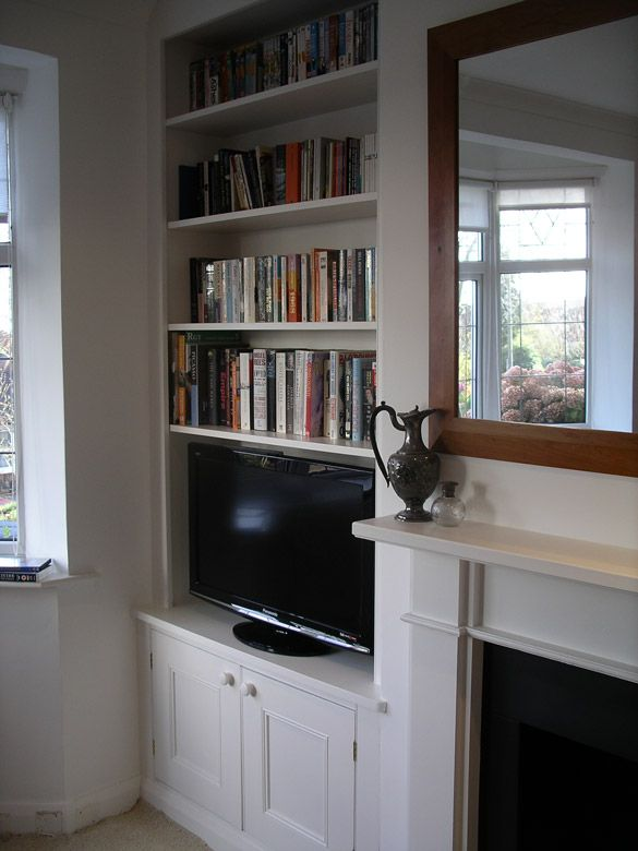 purpose built period style alcove cupboard and bookcase Wee