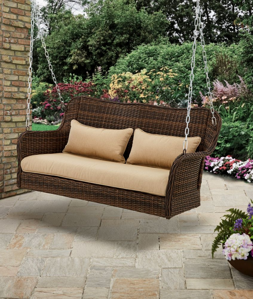 Wicker Porch Swing Outdoor Hanging Bench Garden Furniture Seat ...