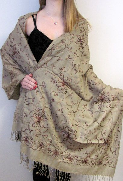 cashmere pashmina sale embroidered shawls, warm wraps and scarves.