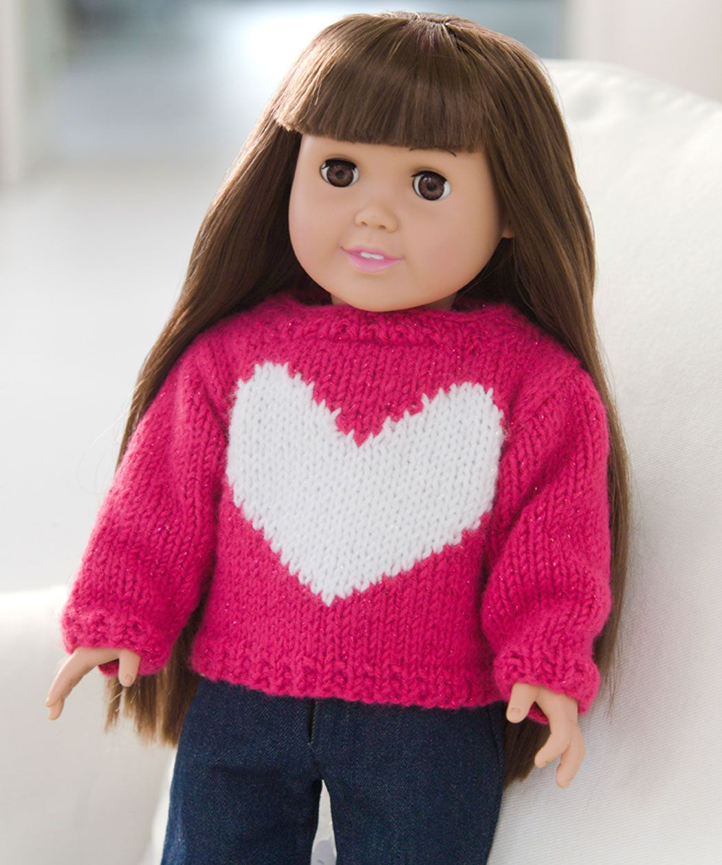 Love My Doll Sweater free pattern from Red Heart | Knit/Crochet Doll ...