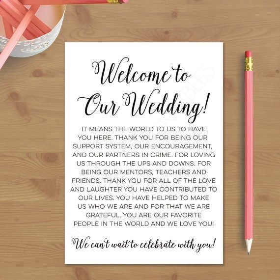 Wedding Quotes  Printable Wedding Welcome Letter Instant By