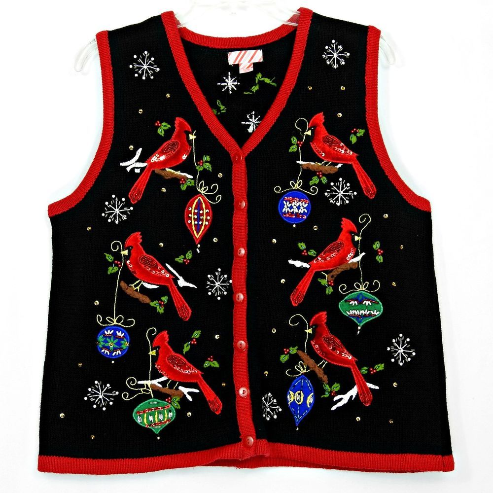 Christmas Cardinals Birds Holiday Ornaments Sweater Vest Women S Size Xl 16 18 Sweater Vest Women Sweater Vest Christmas Cardinals