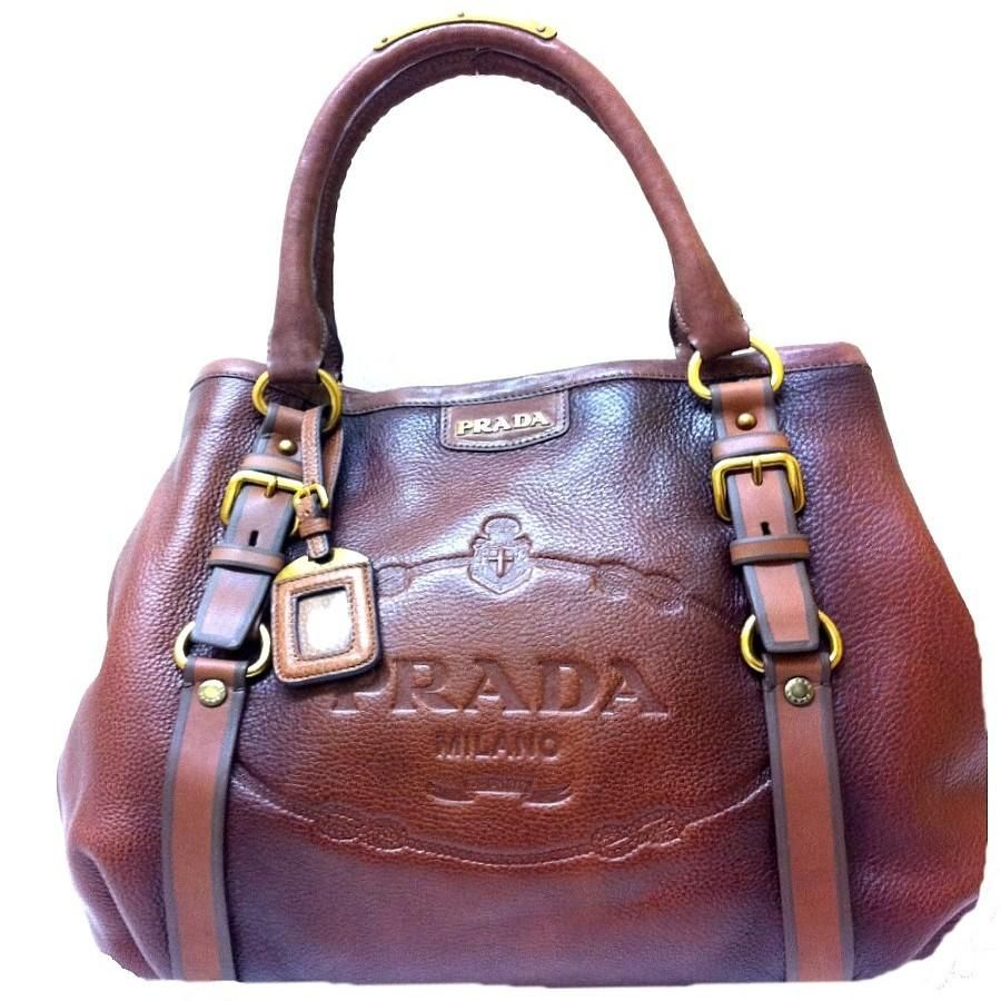 Prada Bagyourbag Shoulder yourlife Textured Leather Brown SUzVpM