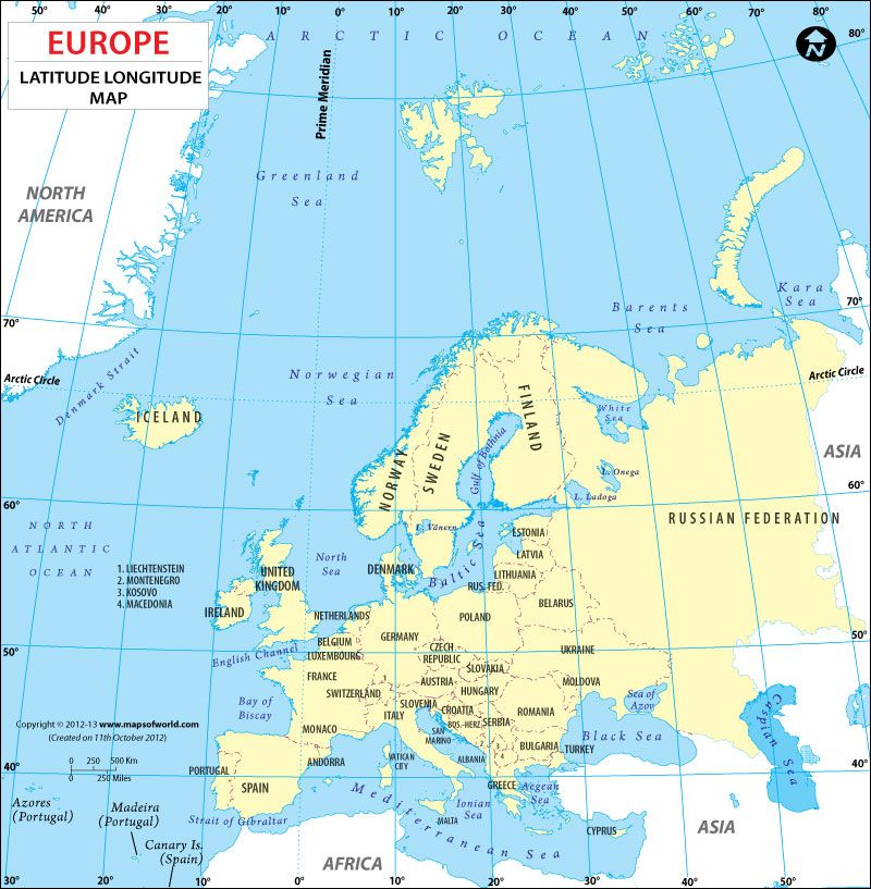 Latitude and Longitude Maps of European Countries  CC Geography