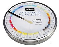 Pebeo Fine Watercolors Round Metal Box Of 12 24 Half Pans Pocket
