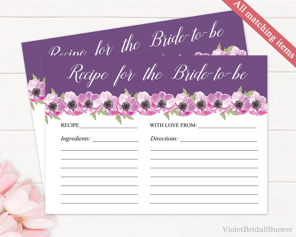 Purple And Pink Floral Recipe Bridal Shower Card Template Printable - Bridal shower card template