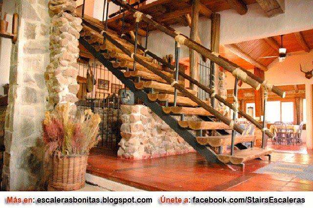 ESCALERAS RÚSTICAS Casita Pinterest - escaleras de madera rusticas