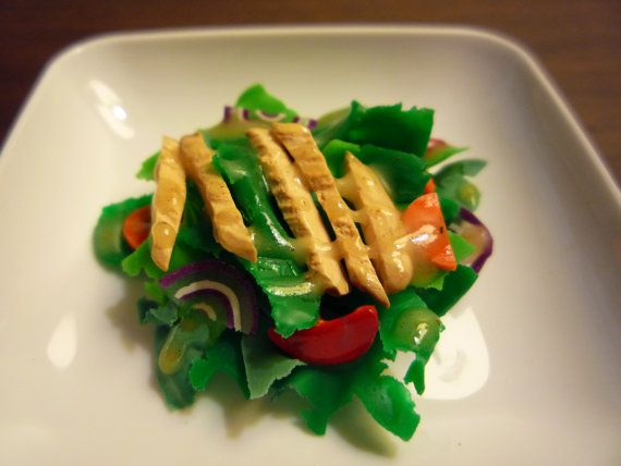 American Girl Food. Chicken Caesar Salad With Tomatoes, Lettuce, Carrots, and Onions via Etsy