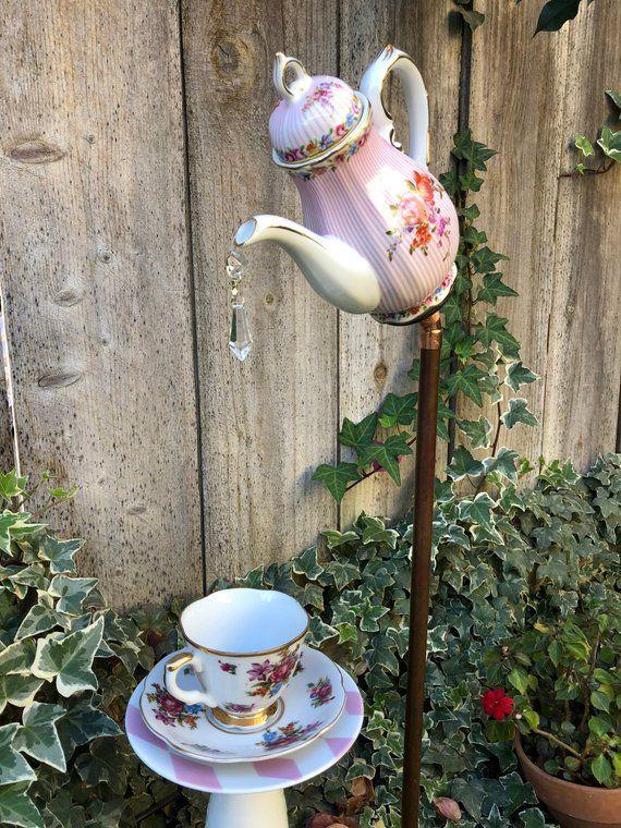 Glass Garden Art, Tea Pot and Tea Cup, Garden Decor, Yard