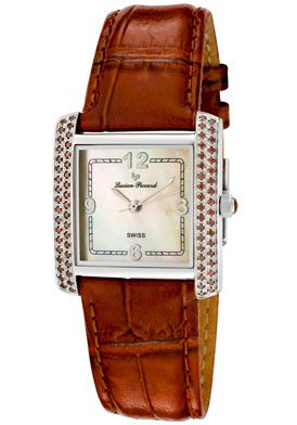 Special Offers Available Click Image Above: Lucien Piccard 26008br Women's Della Cognac Diamond (0.74 Ctw) Champagne Mop Dial Brown Paten
