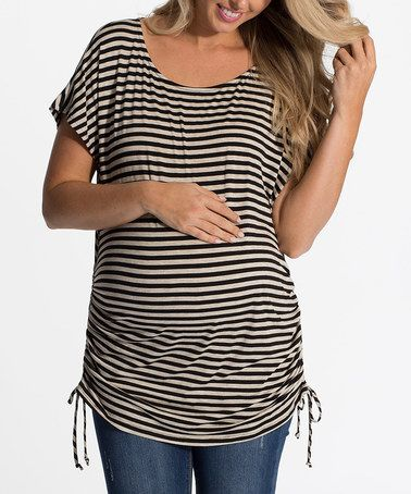 PinkBlush Beige & Black Pencil Stripe Maternity Tunic - Women #zulily #zulilyfinds