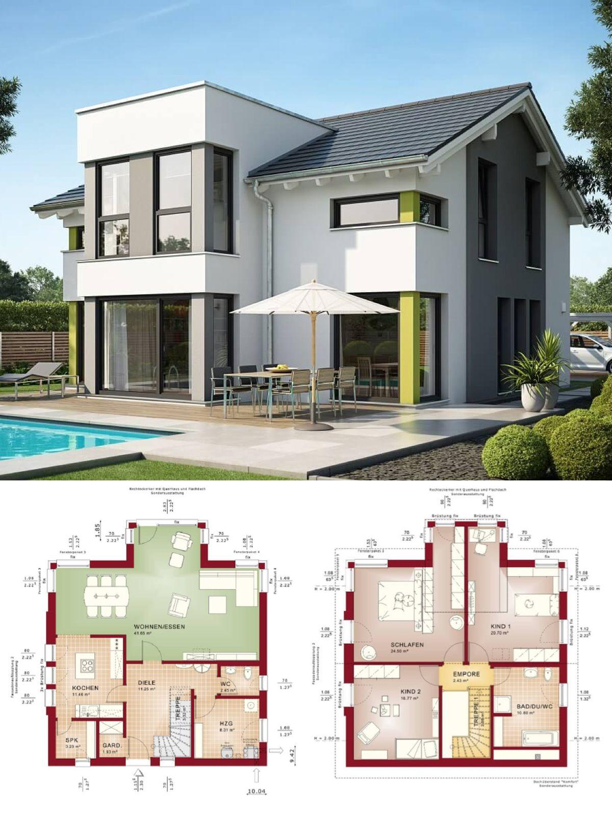 Einfamilienhaus Neubau Modern Mit Satteldach U0026 Querhaus   Haus Bauen  Grundriss Fertighaus Evolution 154 V7 Bien